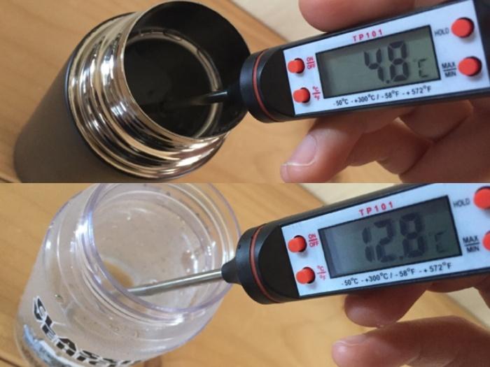 保冷効果実験1時間後の水温