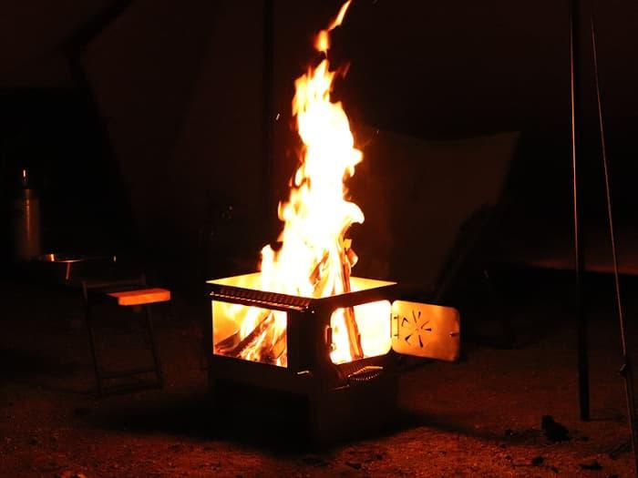 チーズタープ 焚火